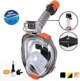 UKON Maschera Subacquea, Snorkeling Maschera Full Face 180 ¡ã Visualizza Design panoramico, Anti-Fogging Anti-Leak per Donna Bambino Adulto(Arancione, L/XL)