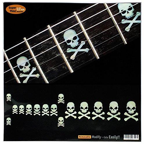 Griffbrett Marker Inlay Aufkleber Decals für Gitarre & Bass-seitwärts Totenkopf W/