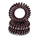Miya Set of 3 Mini Spiral / Telephone Cable Scrunchies / Bracelets / Hairbands Stretchy Brown Plastic