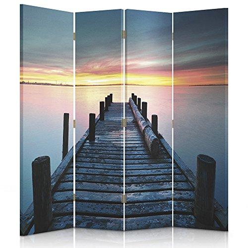 Feeby Frames. Raumteiler, Gedruckten aufCanvas, Leinwand Wandschirme, dekorative Trennwand, Paravent beidseitig, 4 teilig (145x180 cm),...