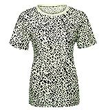 NPRADLA Damen Tops Leopardenmuster Sommer Fitness Sweatshirt Laufen Lose Pullover Mädchen Große Größe Kurzarm O-Neck T-Shirt Damen Bluse