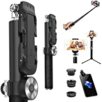 ZUSLAB Selfie Stick with Tripod Mount + 3-in-1 Fisheye Wide Macro Lens + Detachable Bluetooth Remote Shutter for iPhone Android Phone (Black)