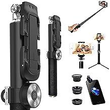 ZUSLAB Palo Selfie con Bluetooth Controlador Wireless y 3-en-1 Lente (Fisheye + Gran Angular + Macro) y Stick Monopod con Trípode, Monopod de extienden desde 24.5 - 95 cm Compatible con Sistema Android IOS, Gopros, Google Phone, Huawei y Iphone 4,5,5,6,7 Plus Samsung S4 S5 S6 S7 S8 Plus