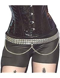 3Filas Remaches Cinturón con cadenas * Punk Gótico cintura cinturón Remaches en forma de pirámide)