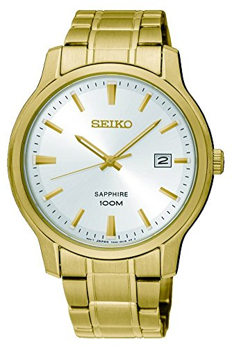 Seiko Herren Analog Quarz Uhr mit Edelstahl beschichtet Armband SGEH70P1