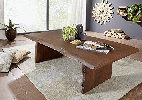 Table basse 150x70cm - Bois massif d'acacia laqué (Brun classique) - LIVE EDGE #006