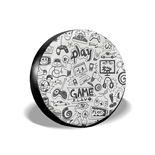 Tire Cover Monochrome Sketch Style Gaming Design Racing Monitor Device Gadget Teen 90\'s Polyester Universal Spare Wheel Tire Cover Wheel Covers Jeep Trailer RV SUV Truck Camper Travel Trailer Accessor