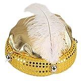 NET TOYS Glitzernder Turban für Erwachsene | Gold in Größe KW 59 | Glänzendes Männer-Kostüm-Zubehör 1001 Nacht | Ideal für Fastnacht & Fasching