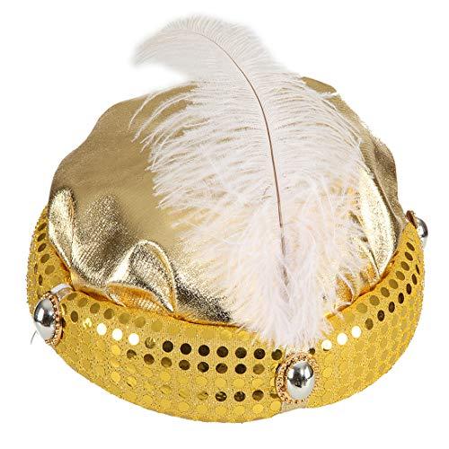 Kopfbedeckung Indische Kostüm Zubehör - NET TOYS Glitzernder Turban für Erwachsene | Gold in Größe KW 59 | Glänzendes Männer-Kostüm-Zubehör 1001 Nacht | Ideal für Fastnacht & Fasching