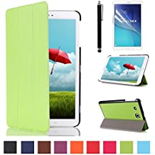 Galaxy Tab E 9.6 Funda Cuero,Verde PU Cuero Smart Cover Book Case Funda para Samsung Galaxy Tab E 9.6'' SM-560 SM-T561 Carcasa Piel Caso con Función Soporte + Protectores de Pantalla + lápiz óptic