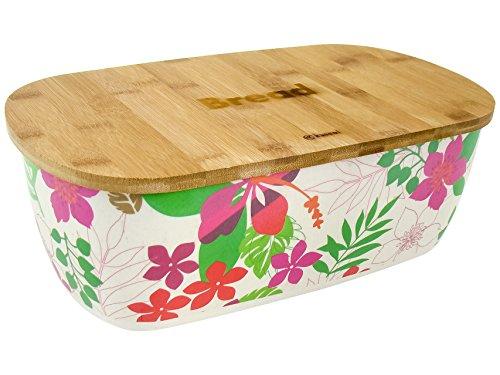 KINGHOFF Iweks Élégant, élégante Boîte à pain Bois de bambou à pain Boîte de rangement avec couvercle amovible de également comme Planche à découper