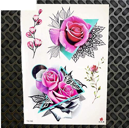 Mrkal autoadesivo del tatuaggio temporaneo della rosa geometrica autoadesivo posteriore del tatuaggio del blu dell'acquerello di arte del petto posteriore femminile sexy del petto
