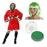 Déguisement Monstre qui a voler Nöel FEMME - Idéal pour les fête de Nöel - Y Compris: Manteau Père Nöel a capuche, Peinture visage verte, Perruque Vert