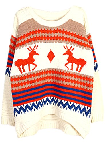 ACHICGIRL Women's Christmas Elk Graphic Oversized Pullover Knit Sweater Beige