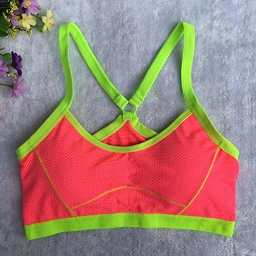 Soutien-gorge pour femmes,Tonwalk Yoga Fitness Exercices Sans couture Veste Pastèque rouge