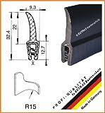 EUTRAS Dichtungsprofil KSD2152 Türgummi Kofferraumdichtung  – Klemmbereich 0,5 – 2,0 mm - schwarz - 3 m
