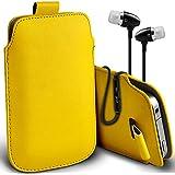 ( Yellow ) LG G2 Schutzkunstleder Pull Tab stilvolle Einbau Beutel Case Hülle & Premium Qualität Aluminium In-Ear-Ohrhörer Stereo-Kopfhörer-Kopfhörer Hands Free-Headset mit Mikrofon Mic & On-Off-Taste nach Baujahr Spyrox