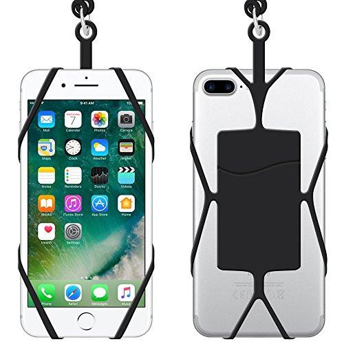 Teléfono Acollador Universal Silicona Caso con Cuello Correa, IHUIXINHE Correa Cuerda de Silicona con Ranura de Tarjeta para iPhone X 8 7 Plus 6 6S Samsung Galaxy S8 S7 Edge Note 4 5 Huawei