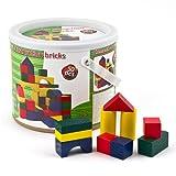 Set di cubetti blocchi mattoncini in legno colorato 50 pezzi in secchiello forma diversa gioco bambino bambini creatività