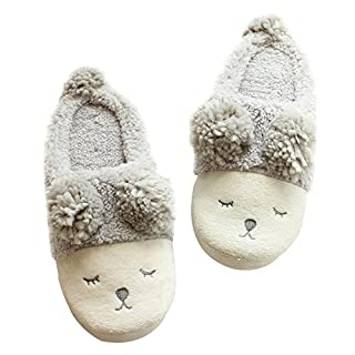 Alxcio Women Ladies Winter Home Shoes Fuzzy Sheep Face Slip On Slippers Indoor Skidproof Slipper, Gray/ UK Size 3.5-4.5
