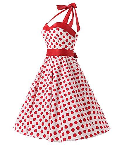 Dresstells Neckholder Rockabilly 50er Vintage Retro Kleid Petticoat Faltenrock White Red Dot