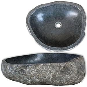 Vislone Lavabo de Piedra Natural Lavabos Sobre Encimera para Baño en Forma Ovalada 40-45cm