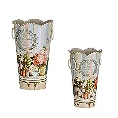 """Idea Regalo - Vaso fiore in metallo, secchio vintage stile francese, """"La maison des fleurs Paris"""