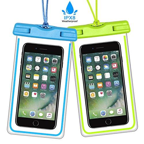 [2 Pezzi] Custodia Impermeabile Cellulare 6 Pollici Chesbung Custodia Impermeabile Waterproof Antipolvere Pouch Borsa con [IPX8 Certified], per Huawei P9 / P8, iPhone 7/7 Plus/SE / (Blu+Verde)