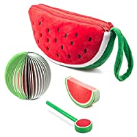 Pencil Case Watermelon Pen Holders Cute Stationery Pencil Pouch Two Big Pockets With Double Zipper Set of 3