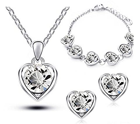 Crystal Heart Shape Fashion Costume Jewellery Sets Free Gift Bag (Silver White)