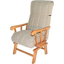 Sillón balancín de madera maciza tapizado arena para salón comedor o dormitorio. 110x69x59cm. Envío montado.