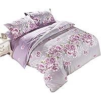 Floral Duvet Covers copri piumone singolo comodo, Set di biancheria da letto con federe, Policotone, Rosa Purple,