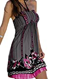 Damen Sommer Bandeau Bunt Tuch Kleid Neckholder Strandkleid