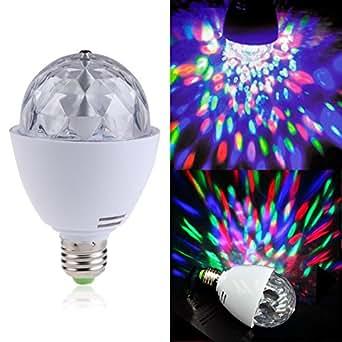 VKtech® 3W Nouveau Version E27 Ampoule Disco LED Crystal RGB Rotatif DJ Soirée Lampe de soirée lampe ambiance lampe disco led