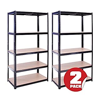 Garage Shelving Units: 180cm x 90cm x 45cm | Heavy Duty Racking Shelves for Storage - 2 Pack, Black 5 Tier (175KG Per Shelf), 875KG Capacity | For Workshop, Shed, Office | 5 Year Warranty