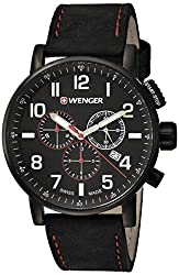 Wenger Mens Attitude Chrono Swiss Quartz Stainless Steel and Leather Casual Watch, Color Black (Model: 01.0343.104)
