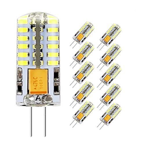 Lampadina LED G4 3.5W, Bianco Freddo 6000K, Equivalente a 30W Lampada Alogena, 300LM, AC/DC 12V, Angolo di visione 360°, Confezione da 10 by Jpodream