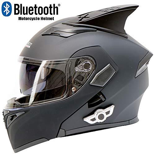 XINKUIN Mattschwarzer Multifunktions-Bluetooth-Motorradhelm, Vier-Jahreszeiten-Motorrad-ATV-Geländewagen Mountainbike-Rennen Ausdauer-Rennhelm DOT-zertifizierter Integralhelm,L59cm~60cm -