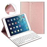 LUCKYDIY Clavier Bluetooth iPad Coque 9.7, Clavier Bluetooth sans Fil Slim + Sommeil Automatique pour Apple iPad 2018/2017, iPad Air 1/ Air 2