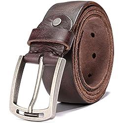 HZHY Cinturón de Hombre Para Ropa Casual & Jeans, 100% Cuero Genuino (115CM (30''-40''), Type 1C)