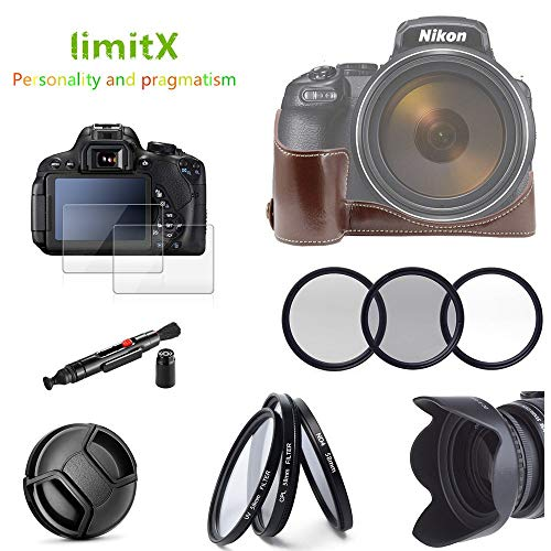 CIVIQ Accessories kit Half Body Leather Case + Filter Set + Lens Hood + Lens Cap + Glass LCD Protector for Nikon Coolpix P1000 Camera Lcd-hood Kit