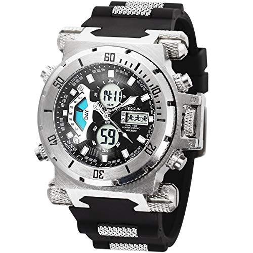 Herren Digital Sport Uhren - Outdoor Armbanduhr mit Wecker Chronograph Uhr LED Licht Digitaluhren für Herren Militärische Uhren Armband Großes Gesicht Digitale Uhren Sport-Uhr Gummi Silber