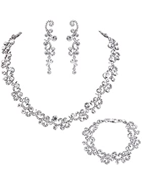 EVER FAITH® Damen österreichisch Kristall Elegant Art Deco Flora Hochzeit Jewellery Set klar Sliver-Ton