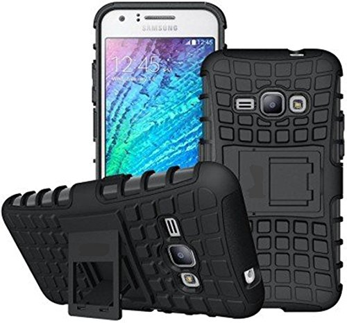 IND COMBO Rugged Hybrid Kickstand Armor Defender Back Case Cover For Samsung Galaxy J2 2016 / J210- Black (Free Tempered Glass Screen Protector)