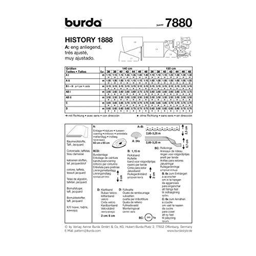 9e944ff505a8 Burda B7880 - Cartamodello per realizzare vestito lungo stile 800 da donna
