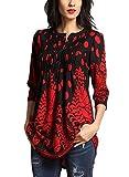 Aleumdr Donna T Shirt Camicetta con Bottoni Blusa Manica 3/4 Floreale Maglietta Maniche Lunghe Donna Elegante Tunica Donna- L(EU44-46)