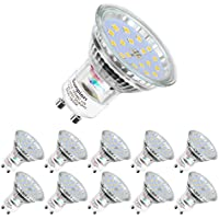 Bombilla LED GU10, 5 W equivalente a 60 W Halógena, blanco diurno 6000K, 600LM,120 ° ángulo de haz, Ultra Brillante LED Bombillas, Paquete de 10 Unidades