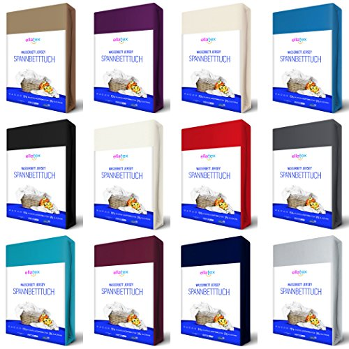 EllaTex Premium Stretch Spannbettlaken 200x220-220x240cm für WASSERBETTEN/BOXSPRINGBETTEN + 40 cm Steghöhe, ca. 200 g/m², in Farbe: Rot