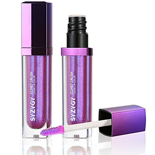 SYZYGY Flüssiger Lippenstift, Duo-Chrome feuchtigkeitsspendend Liquid Lipstick, Hochpigmentiert scheinende Irisierendes Glitzer Metallic Lippen Lack Lipgloss Vegan Makeup, Moony Woods
