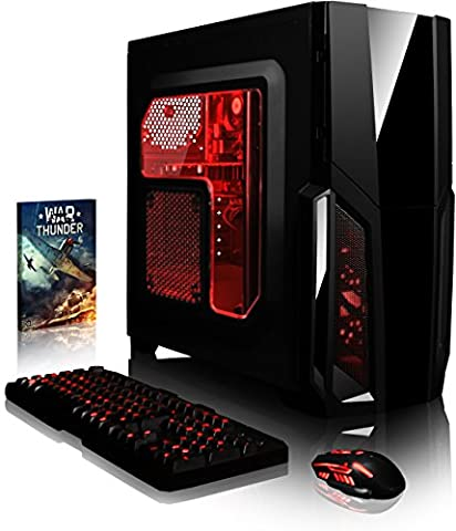 VIBOX Gaming PC - Pyro GS810-137 - 4.2GHz AMD FX 8-Core CPU, GT 710 GPU, Desktop Computer with Game Bundle, Red Internal Lighting and Lifetime Warranty* (Super Fast AMD FX 8300 Eight 8-Core CPU Processor, Nvidia GeForce GT 710 1GB Dedicated Graphics Card GPU, 16GB DDR3 1600MHz High Speed RAM Memory, Super Fast 120GB Solid State Drive SSD, 2TB (2000GB) Sata III 7200rpm Hard Drive HDD, 85+ Rated PSU Power Supply, CIT Storm Red Gaming Case, AM3+ Motherboard, No Operating System Installed)
